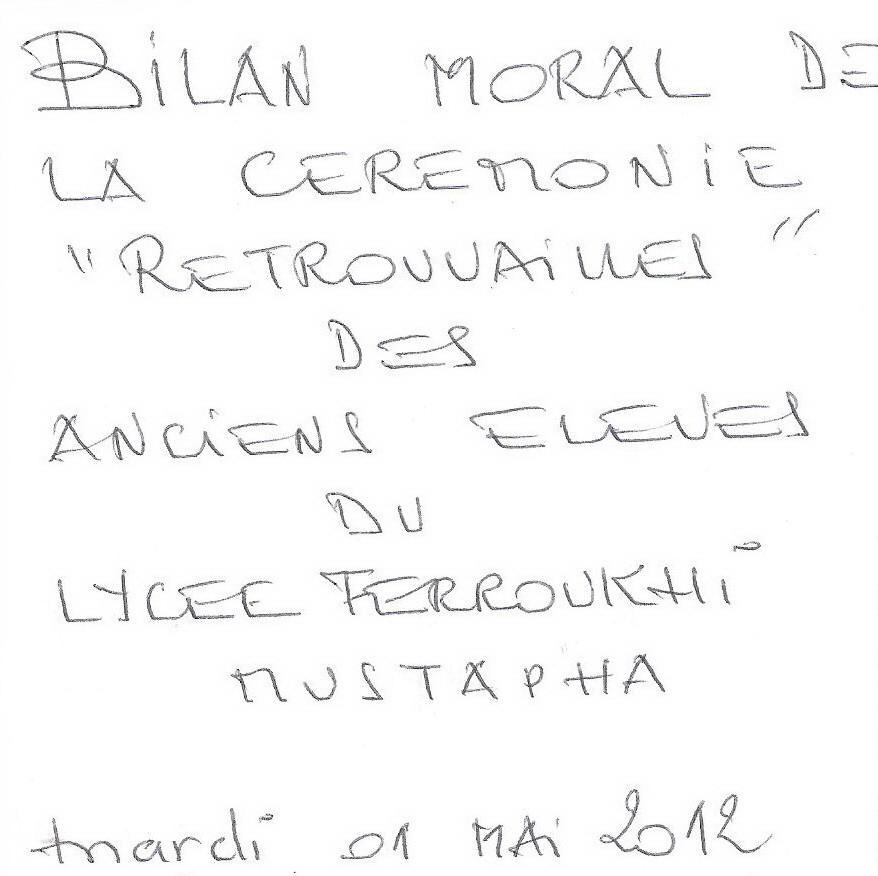 Bilan moral/ Retrouvailles 2012