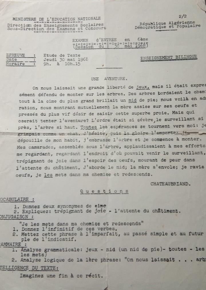 Epreuve de francais 6 ème 1968